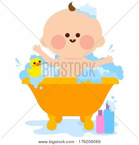 Vector illustration of a cute baby in a bath tub taking a bubble bath and playing with his rubber duck toy.