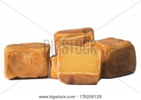 square chinese cake isolate on white background
