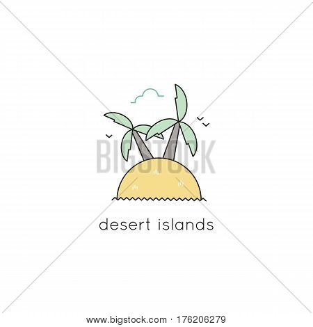 Desert island vector thin line icon. Colored isolated symbol. Logo template, element for travel agency products, tour brochure, excursion banner. Simple mono linear modern design.