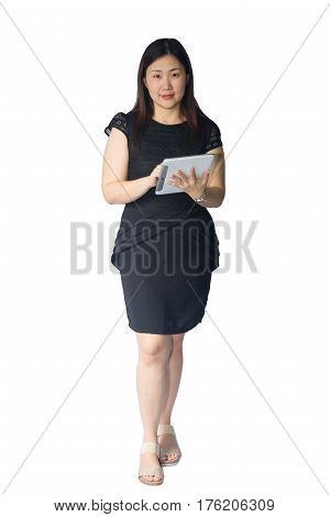 Beautiful young woman with business isolated on white background