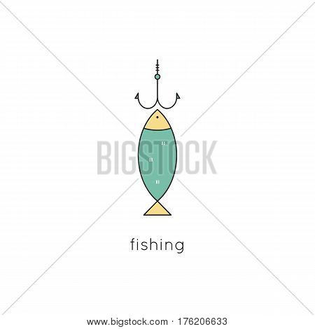Fish on the hook, vector thin line icon. Colored isolated symbol. Logo template for fish market, seafood restaurant, tour brochure, excursion banner. Simple mono linear modern design.