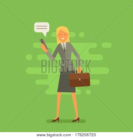 Cool Vector Flat Design Business Character. Corporate Specialist Friendly Smiling. Woman Going To Wo