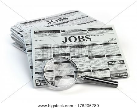Job search. Loupe with jobs classified ad newspapers isolated on white. 3d illustration