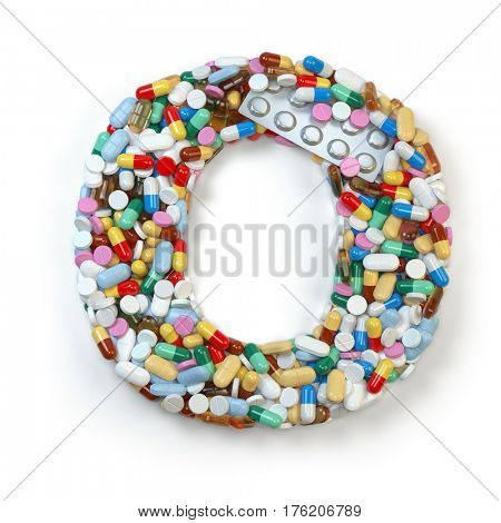 Letter O. Set of alphabet of medicine pills, capsules, tablets and blisters isolated on white. 3d illustration