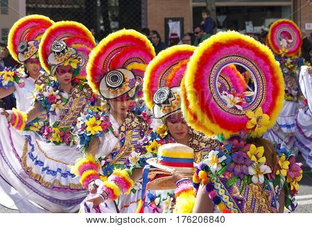 Badajoz Spain - February 28 2017: Performers take part in the Carnival parade of troupes at Badajoz City. This is one of the best carnivals in Spain especially highlighting massive participation of people
