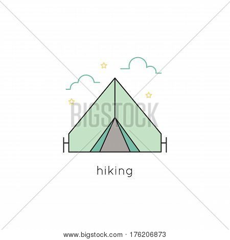 Tent vector thin line icon. Isolated symbol. Logo template for hiking or camping tour, element for travel agency products, tour brochure, excursion banner. Simple mono linear modern design.