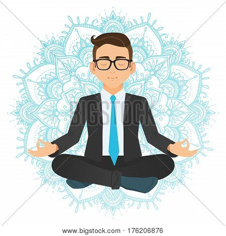 Vector Illustration Of Businessman Sitting In Lotus Pose. Meditating Office Worker On Dreamy Mandala