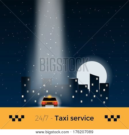 City taxi service vector illustration. Taxi car standing below the bright light ray with night city on background. Stylish design, mild colors.
