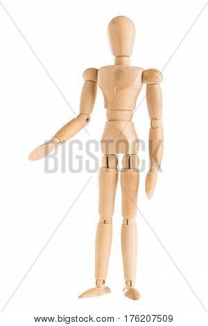 demonstration of wood manikin in stand and right handshaking pose on white background. in concept of business friendship and togetherness
