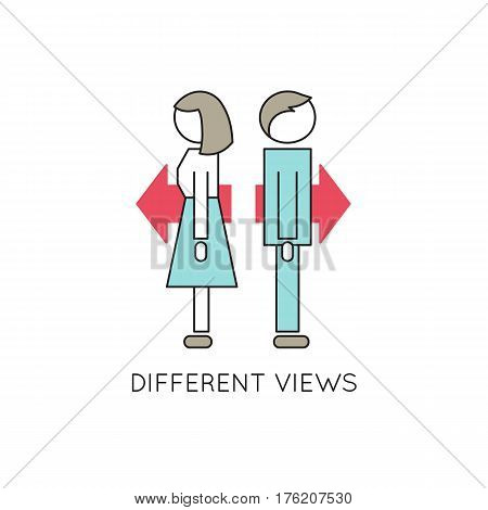 Vector thin line icon, problems in couple. Man and woman looking in opposite directions. Metaphor of different aims and views, disagreements in family relations. Simple mono linear modern design.