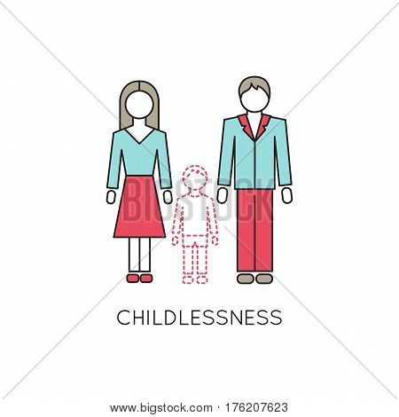 Vector thin line icon, problems in couple. Man and woman without a child. Metaphor of childlessness and infertility. Colored isolated symbol. Simple mono linear modern design.
