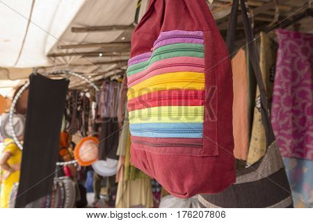 retro look bag in display of shopfront at marketplace in Pushkar Rajasthan India