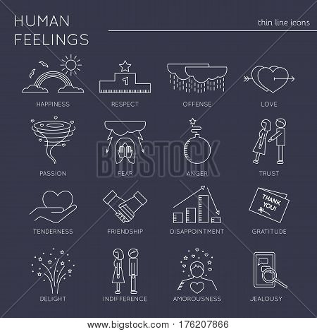 Thin line icons set, vector illustration. Human feelings and emotions, couple relationships. Strong metaphors, isolated symbols. White on black pictograms. Simple mono linear design.