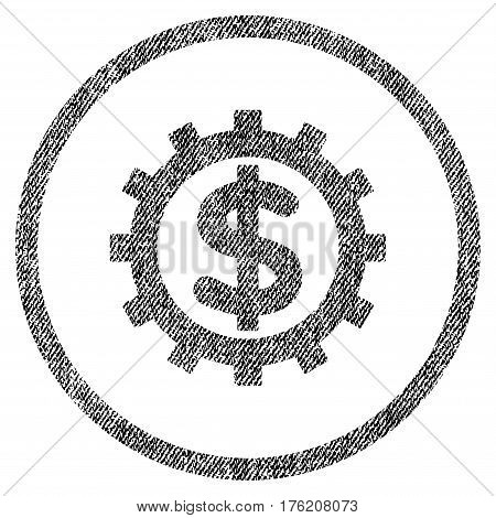 Financial Industry vector textured icon for overlay watermark stamps. Fabric black vectorized texture. Symbol with dust design. Rubber seal stamp with fiber textile structure.