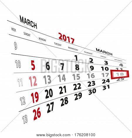 March 18, Highlighted On 2017 Calendar.