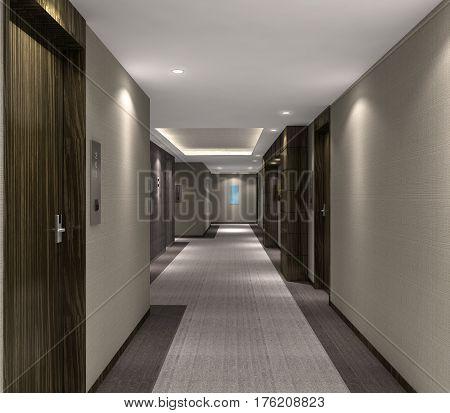 3D Illustration Of Modern Hotel Corridor