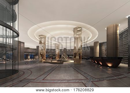 3D Illustration Of A Deluxe Hotel Lobby