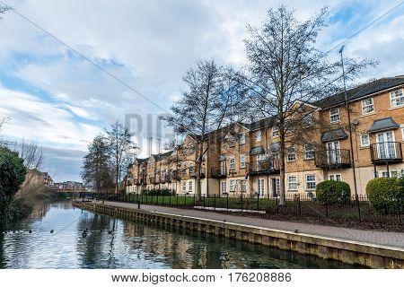 Buildings along Nene River in Northampton, UK.