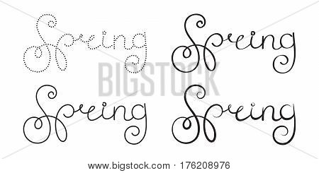 Ornate lettering spring. One writing and four different variants of line thickness