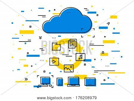 Cloud storage data transfer vector illustration. Wireless file transfer network technology creative concept. Remote internet storage for files graphic design. Online file synchronization.