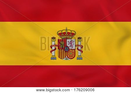 Spain Waving Flag. Spain National Flag Background Texture.