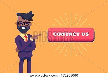 African american businessman with beard in formal suit pointing by index finger to the button with the inscription contact us. Cartoon character. Stock vector illustration in flat design.