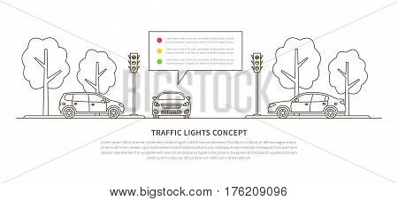 Traffic lights vector illustration. Street semaphores with cars creative line art concept. Electric stoplights traffic lamps graphic design.