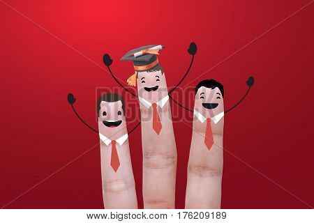 three finger success education graduate. concept celebration