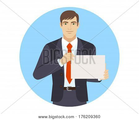Businessman showing a a paper. Portrait of businessman in a flat style. Vector illustration.