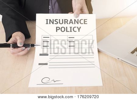 business salesman agent showing protection policyholder must to sign. concept accident prevention healthcare insurance.