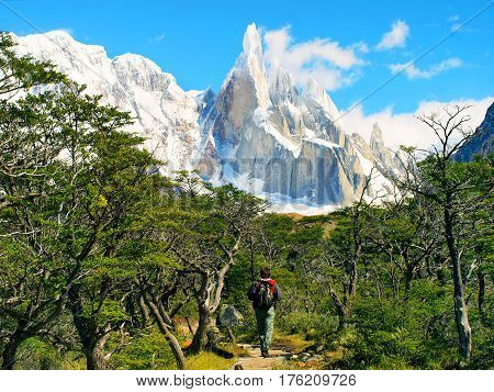 Hiker Trekking In Scenic Landscape With Cerro Torre In The Background In Los Glaciares National Park