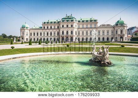 Beautiful View Of Famous Schloss Belvedere, Built By Johann Lukas Von Hildebrandt As A Summer Reside