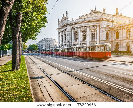 Wiener Ringstrasse With Burgtheater And Tram At Sunrise, Vienna, Austria