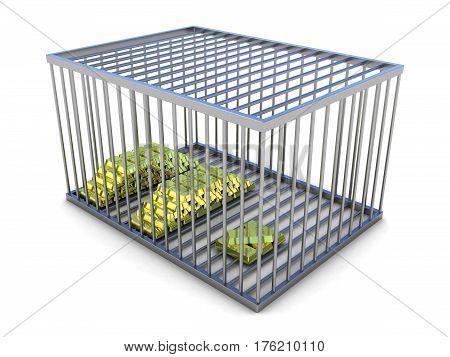 Gold bars in metal cage. 3D render