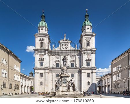 Panoramic View Of Historic Salzburg Cathedral With Famous Maria Immaculata (immaculate Mary) Column