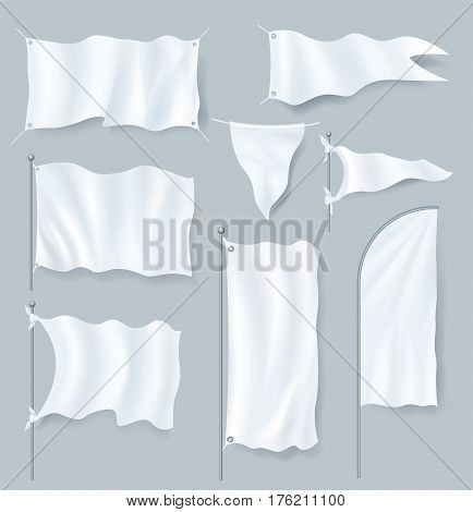 Realistic textile banner and flag mock up set isolated on grey background vector illustration. Blank white 3d model template collection for advertising message. Outdoor feather flag collection