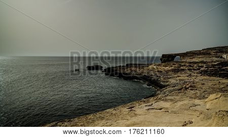 Sea view to Azure window natural arch, now vanished, Gozo island Malta