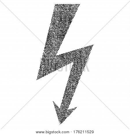High Voltage vector textured icon for overlay watermark stamps. Fabric black vectorized texture. Symbol with dust design. Rubber seal stamp with fiber textile structure.