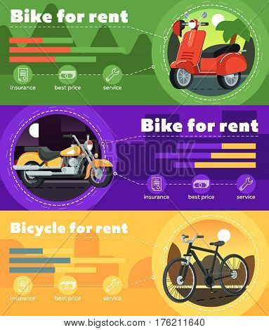 Bike for rent banner set vector illustration. Motorcycle rental business infographic, leasing or renting service. Transportation advertisement with bicycle, scooter and chopper in flat design.