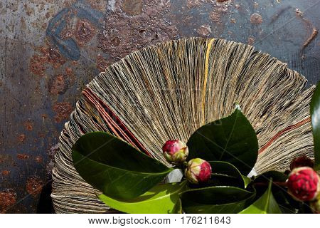 Vase from newspapers with camelia plant on a rusty table.