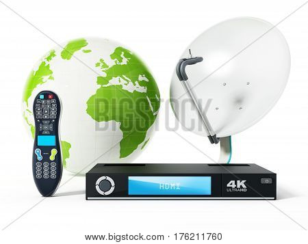 Satellite dish 4K ultra HD receiver remote controller with green globe. 3D illustration.