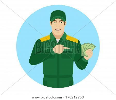 Man in uniform pointing at money in his hand. Portrait of Delivery man or Worker in a flat style. Vector illustration.