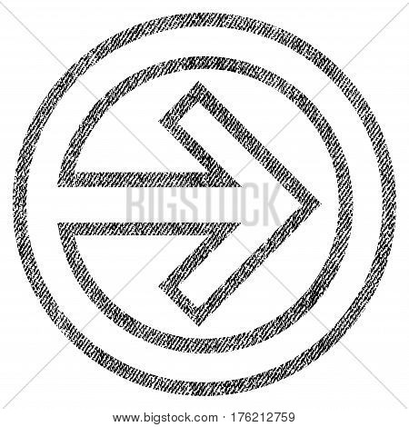 Import vector textured icon for overlay watermark stamps. Fabric black vectorized texture. Symbol with scratched design. Rubber seal stamp with fiber textile structure.