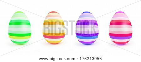 Painted Easter Egg on a white background 3D illustration