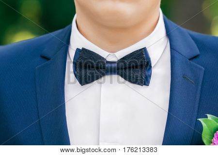 Black-and-blue bow-tie on grooms neck, who is wearing in stylish blue jacket