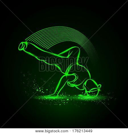 Breakdance freeze. Dance party background. Vector neon illustration.