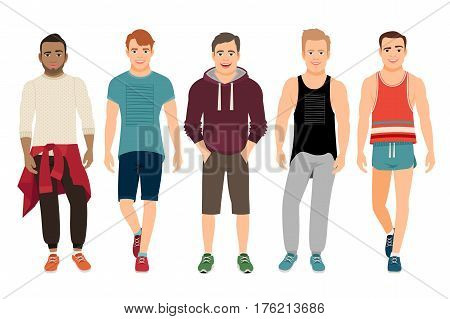 Healthy men in sports clothes vector illustration. Handsome young guys in casual fitness fit isolated on white background