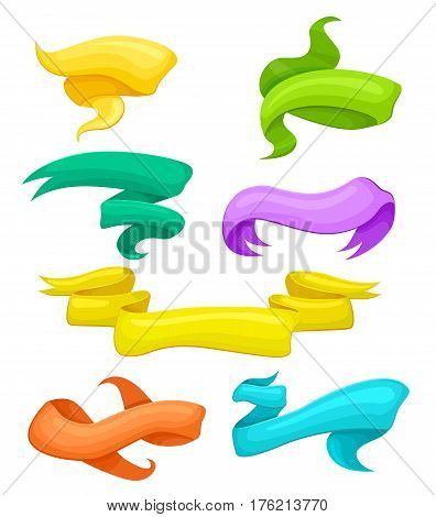Bright ribbon design set in cartoon style isolated. Ribbon on white background. Colorful curved ribbon collection. Vector ribbon. Blank label, tag, sticker, banner template. Cartoon scroll ribbon banners. Funny ribbon. Colorful ribbon set