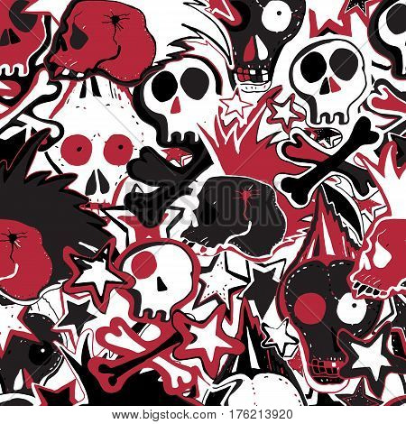 Vector cute punk rock abstract background. Hand drawn seamless pattern.