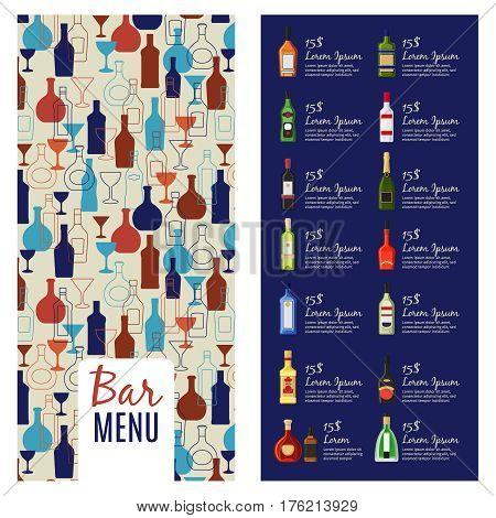Bar menu template. Alcohol menu booklet flyer template with bottles pattern, vector illustration